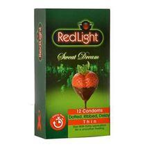 کاندوم تاخیری ردلایت توت فرنگی و شکلات مدل Sweet Dream بسته 12 عددی