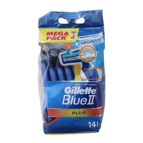 خودتراش ژیلت مدل Blue 2 Plus بسته 14 عددی | Gillette Blue 2 Plus Pack of 14